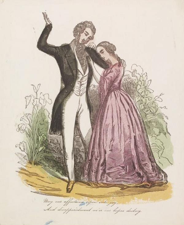 Valentine, wood engraving, coloured by hand, England, ca. 1860. Museum no. E.2054-1953. ©Victoria and Albert Museum, London