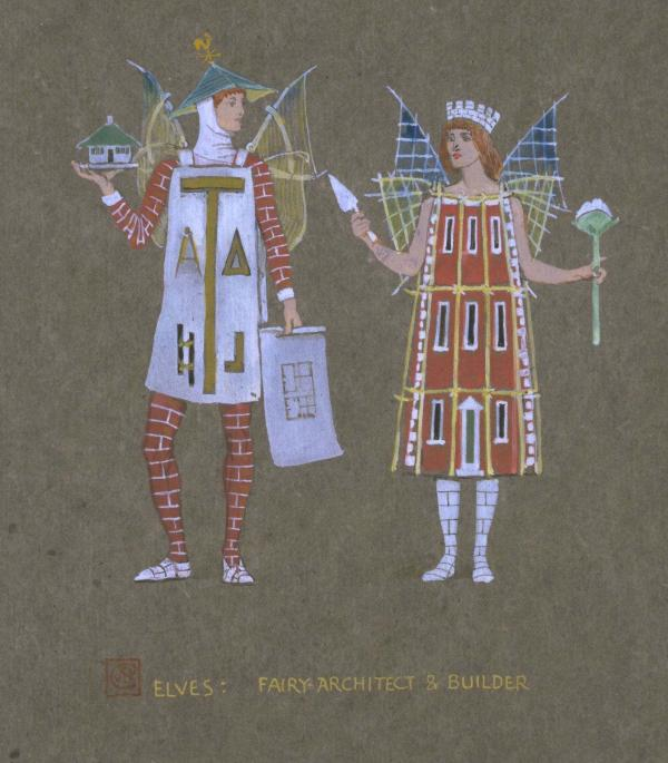 Design by Walter Crane for costumes for 'The Snowman' by Arthur Sturgess, produced at the Lyceum  Theatre, London, December 1899. Body colour of brown paper.