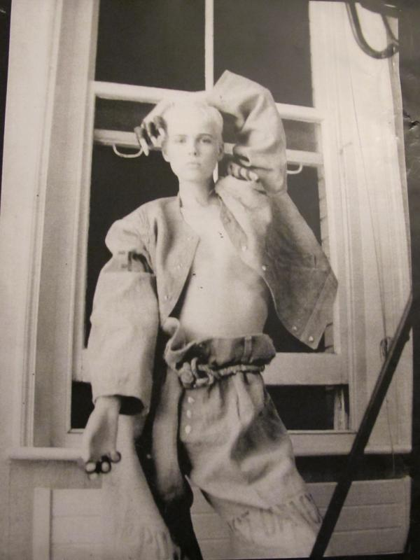 A model wears sacking suit by Christopher Nemeth and accessories by Judy Blame