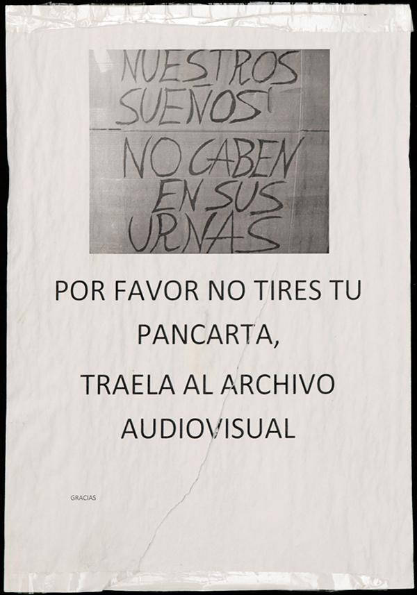 "Poster: ""PLEASE DO NOT THROW AWAY YOUR BANNER. BRING IT TO THE AUDIOVISUAL ARCHIVE"". Below slogan : ""OUR DREAMS ARE TOO BIG FOR YOUR BALLOT BOXES"". Archivo 15M. CC"