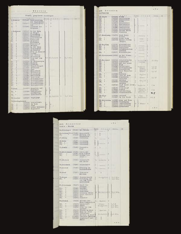 Three examples of pages of the list. © Victoria and Albert Museum, London.