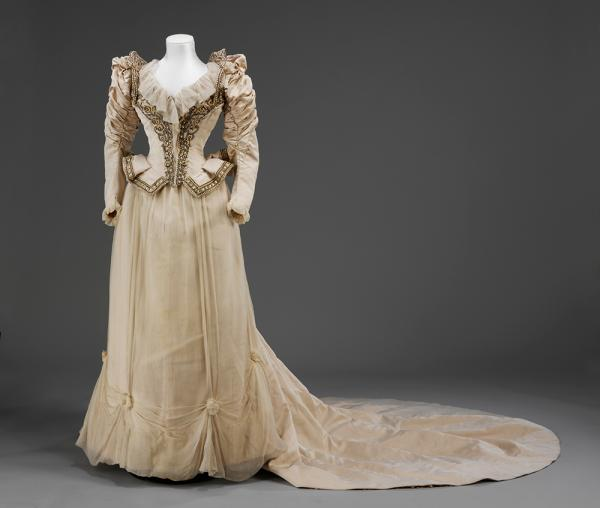 This dress was worn by Cara LeLand Huttlesdon Rogers for her marriage to Bradford Duff, 1890
