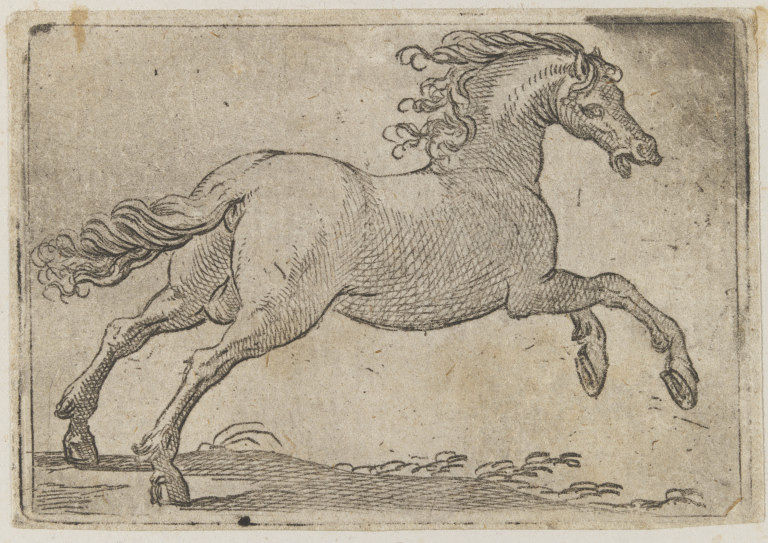 Early print of a horse