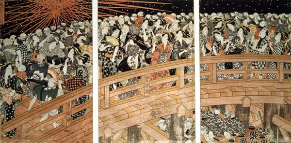 Fireworks at Ryogoku Bridge, woodblock print, Utagawa Toyokuni, 1820-1825. Museum no. E.4900:1, 2-1886. © Victoria and Albert Museum, London.