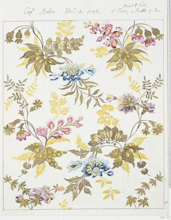 Design for a woven silk, Anna Maria Garthwaite, 1742. Museum no. 5981:23. © Victoria and Albert Museum, London.