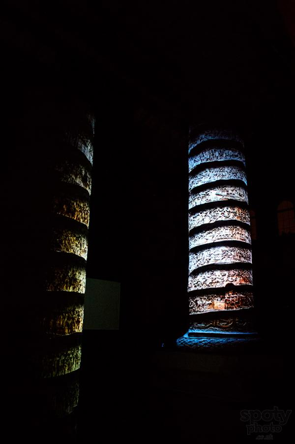 Installation shot of Trajan 1900 video mapping © Dreamrec and Rochiţe. Photo Razvan Danaila