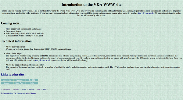 V&A website 1996