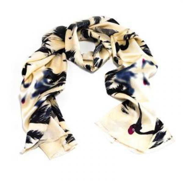 The Dancing Auspicious Crane scarf