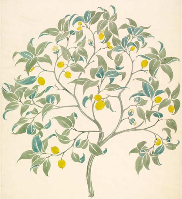 Wallpaper design, 'The Ornamental Tree', C. F. A. Voysey, late 19th century, pencil and watercolour on paper. Museum no. E.270-1913, © Victoria and Albert Museum, London