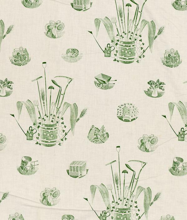 Garden Implements, curtain, Eric Ravilious ,  about 1940. Museum no. T.423-1993. © Victoria and Albert Museum, London