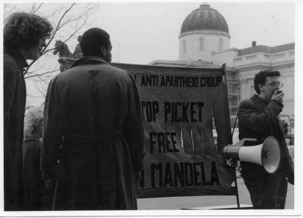 Non-Stop Picket banner and megaphone, 1989 (Source: Gavin Brown)