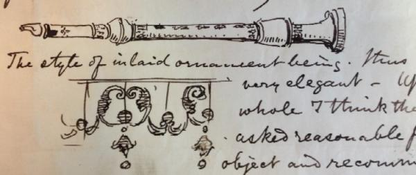 Matthew Digby Wyatt's report on a flageolet (detail)
