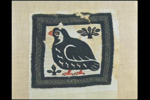 tapestry panel depicting a partridge or quail, Egypt, 300-499, museum no. 1265-1888 © Victoria & Albert Museum, London