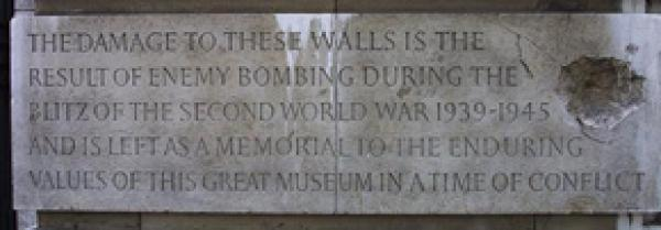 Commemorative inscription on the Aston Webb façade of the V&A. Exhibition Road