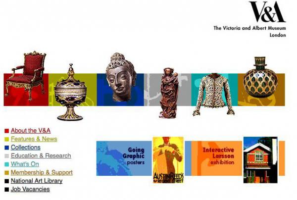 V&A website, 1998. © Victoria and Albert Museum, London