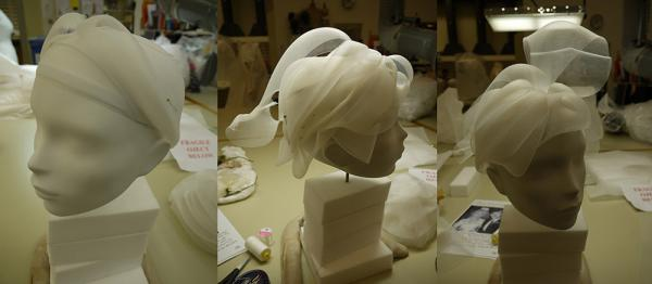 Making a wig from milliner's crinoline. © Victoria and Albert Museum, London