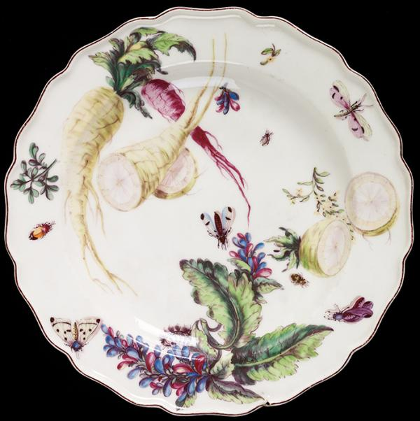Plate, Chelsea Porcelain factory, about 1755, soft-paste porcelain, painted in enamels. Museum no. C.46-1944, © Victoria and Albert Museum, London
