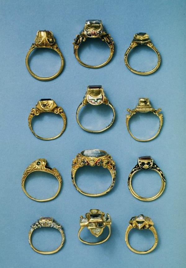 Gold, enamel and diamond rings, European, c. 1525-75