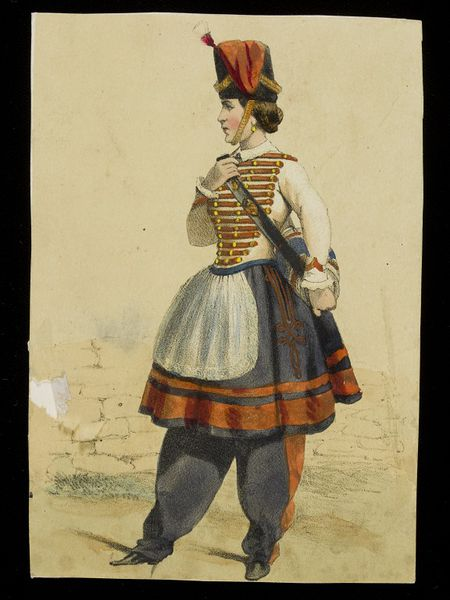lithograph of woman in uniform