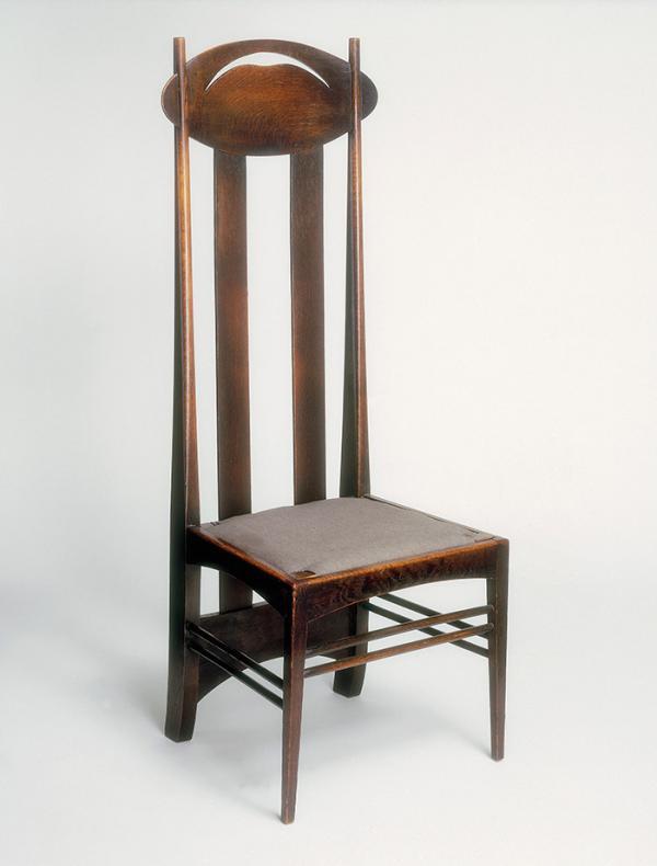 Chair, Charles Rennie Mackintosh, Glasgow, 1897 - 1900. Museum no. CIRC.130:1, 2-1958 © Victoria and Albert Museum, London.
