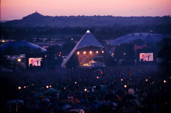 View of Pyramid Stage, © Glastonbury Festival. Thanks to Glastonbury At 40. Photographs compiled by the Somerset photographers Brian Walker, Ann Cook, Matt Cardy, Jason Bryant, Ian Sumner, Anna Barclay