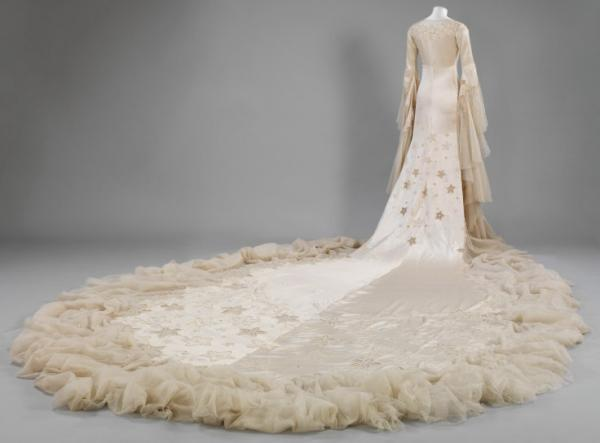 Train of Norman Hartnell gown worn by Margaret. © Victoria and Albert Museum, London