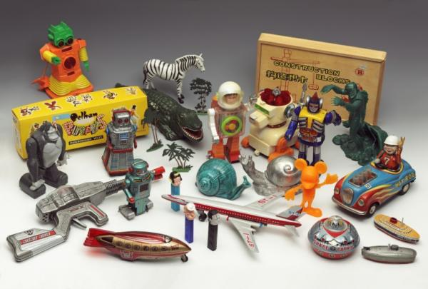 Selection of toys from Eduardo Paolozzi's Krazy Kat Arkive of Twentieth Century Popular Culture