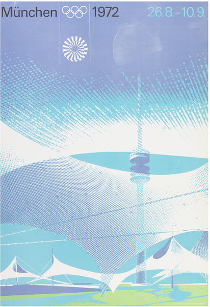 Poster showing Munich Olympic stadium
