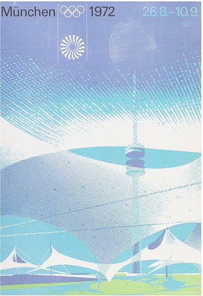 Poster showing Munich Olympic stadium