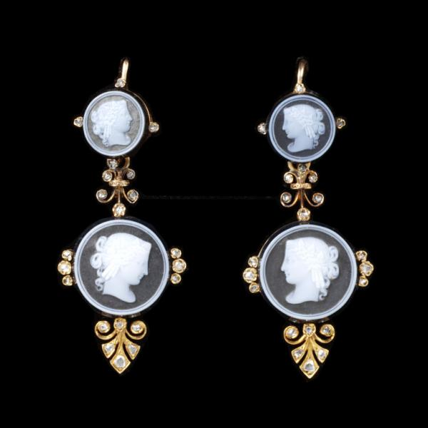 Onyx cameo earrings with rose-cut diamonds