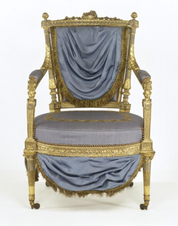 Armchair of carved walnut, with monogram MA for Marie Antoinette, ca.1785. Museum number W.6-1956