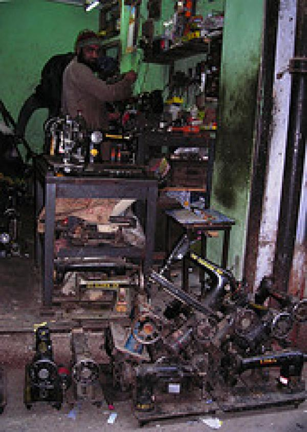 Old Delhi sewing machine repair workshop