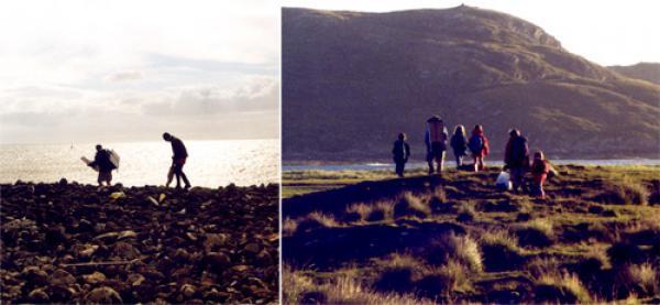 Richard and Mark with driftwood and painting stuff, Isle of Skye; Ardnamurchan. Jess, Richard, Rachel, Katie, Lindsey, Daisy