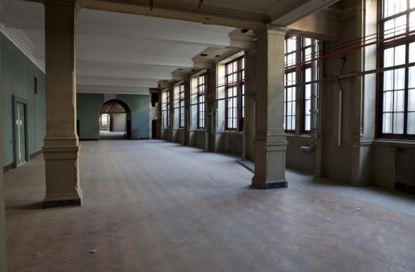 The stripped-out galleries, showing off the Aston Webb architecture