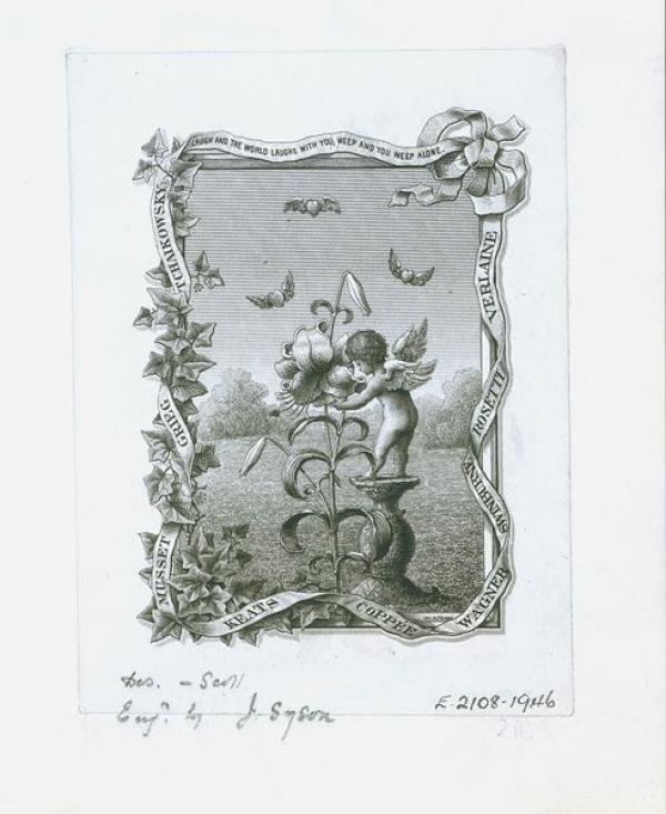 Bookplate, W. Phillips Barrett, 1900. Museum no. E.2108-1946. © Victoria and Albert Museum, London.