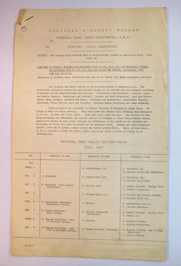 Public Lecture-Tours programme, July 1937