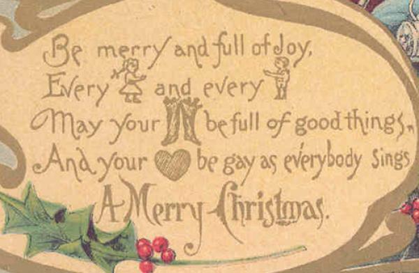 Christmas postcard (detail), 1906. Museum no. B.121-1997. © Victoria and Albert Museum, London.