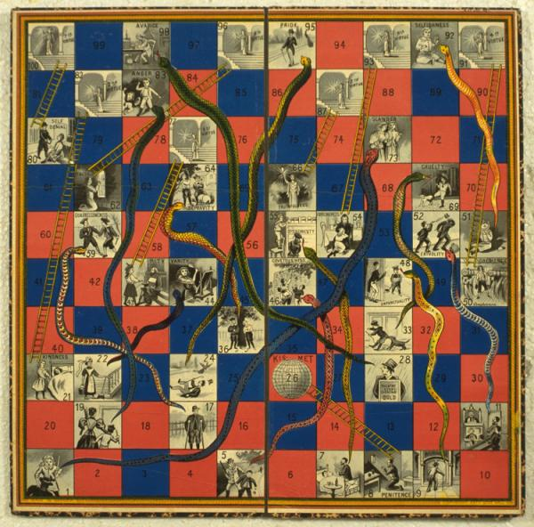 Snakes and ladders, unknown maker, about 1895. Museum no. MISC.423-1981