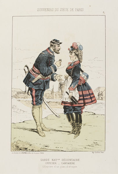 Print of a man and a woman in uniform