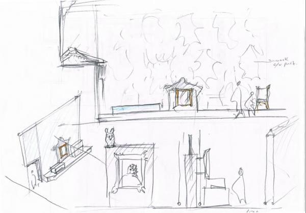 A development sketch for the exhibition by HaraClark
