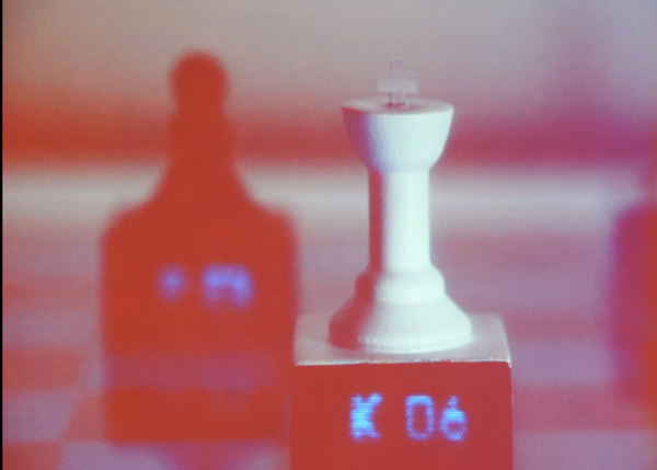 3d-printed interactive chess pieces on a Microsoft Surface chessboard
