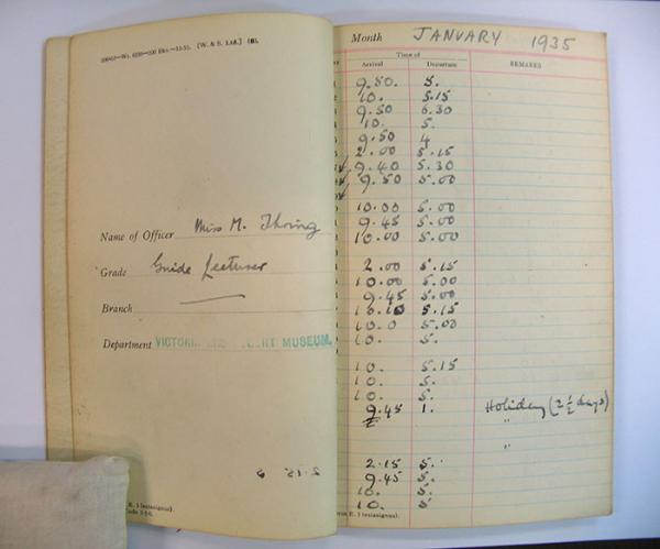 Marion Thring's attendance book