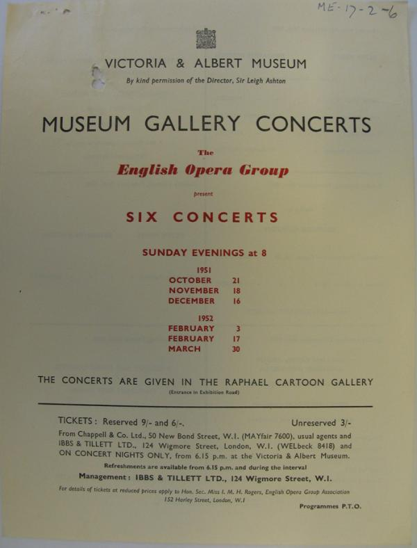 The English Opera Group Concerts flyer