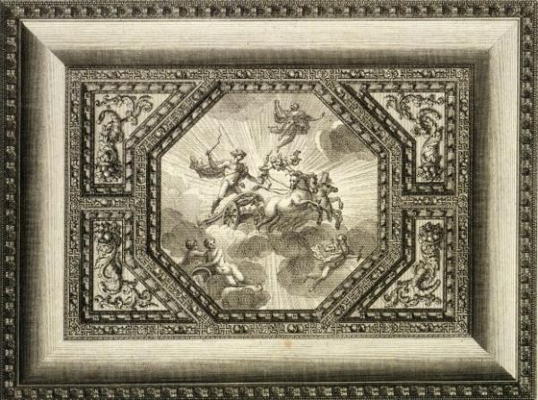 Design for the Saloon ceiling at Houghton Hall by William Kent, engraved by Paul Fourdrinier, 1735