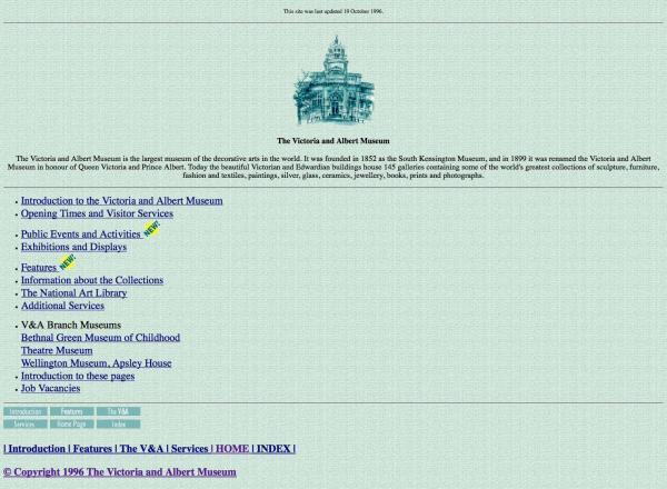 V&A website 1996