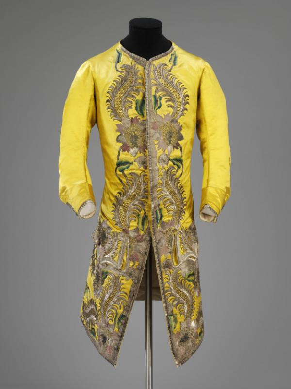 Man's waistcoat, yellow satin embroidered with coloured silk and silver  thread, England, 1730-1739 (V&A 202-1906)