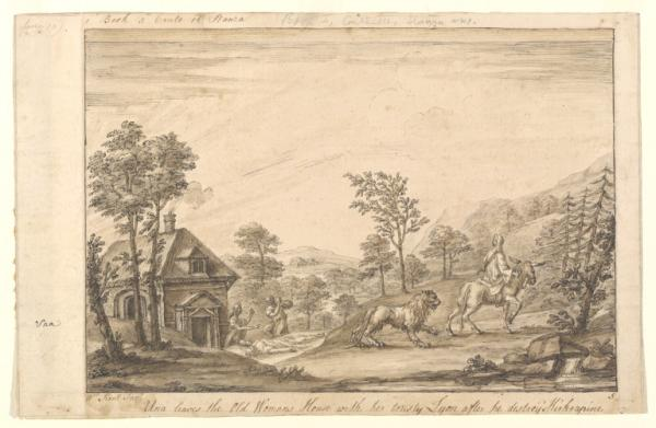 William Kent, Una's Escape from the Old Womans House with her Lyon, after his killing Kirkrapine.