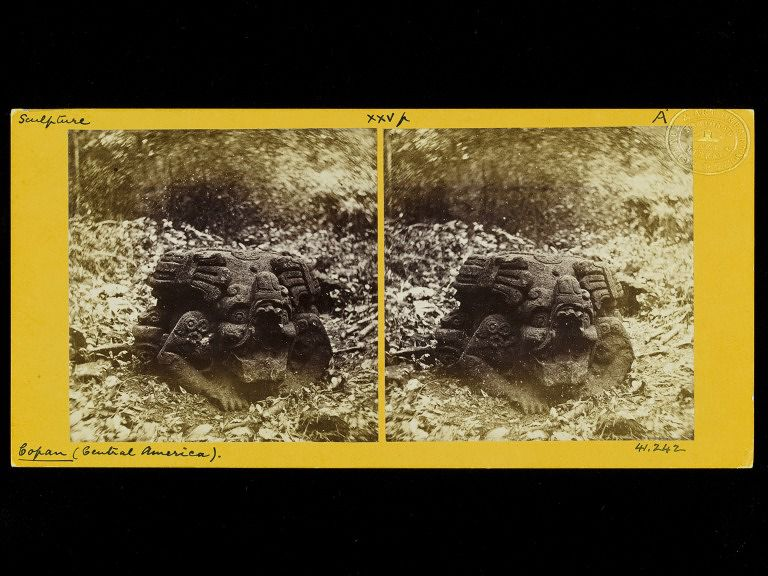 Stereograph of Mayan temple ruins