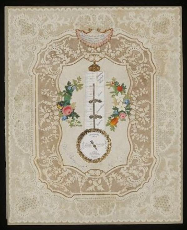 Valentine, 'Barometer of Love', made by Dobbs, London, ca. 1845. Museum no. E.1552-1929. ©Victoria and Albert Museum, London
