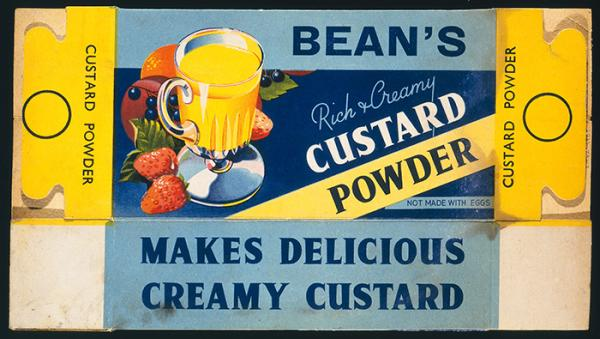 Packaging for Bean's 'rich and creamy custard powder'. Museum no. E.1172-1989, © Victoria and Albert Museum, London